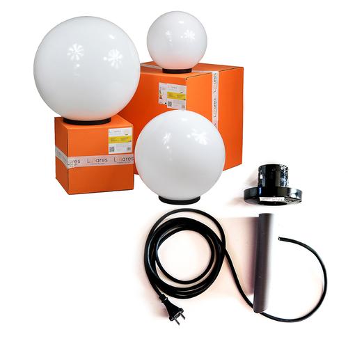 Set de bile decorative - Luna Ball 30, 40, 50 cm cu set de asamblare, cablu 2m, post de fixare + led
