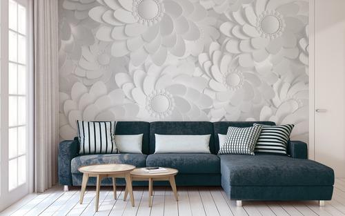 Fotomural Flori albe 3D