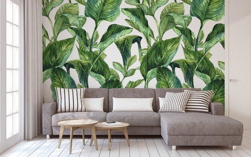 Fotomural Frunze tropicale, nuanțe de verde pe un fundal alb, pictate în acuarelă, decor