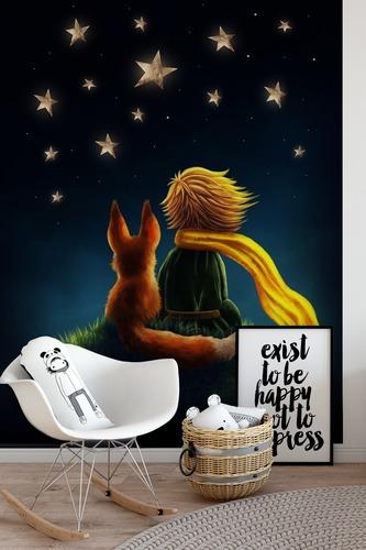 Fotomural Little Prince, decorativ pentru camera unui copil, Micul Prinț și Vulpe, cer înstelat