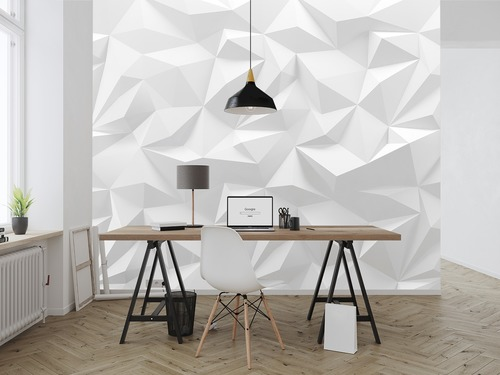 Fotomural 3D triunghi vectorial, alb și nuanțe de gri, solide futuriste