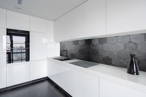 Fotomural 3D Honeycomb, antracit, beton, Hexagon, stil mansardă