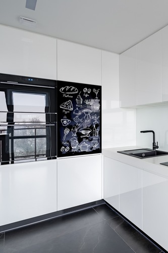 Bucătărie Mural tablă de cretă neagră, feluri de mâncare, băuturi, deserturi, decor