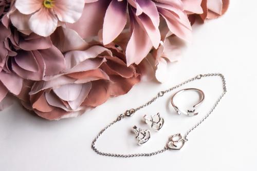 Set de bijuterii din argint - cu o temă pentru pisică