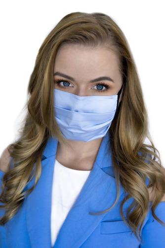 Azure - mască de față reutilizabilă, bumbac, albastru, curele negre, 1 articol