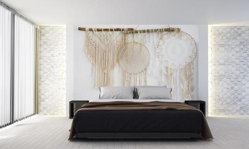 Tapet Boho, captator de vise, macramé, materiale naturale, pene, decorațiuni de perete