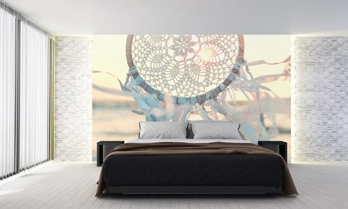 Tapet Dreamcatcher, mare, vânt, raze de soare, obiecte de artizanat, alb, decor