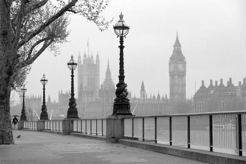Fotomurale Londra, alb-negru, Westminster Abbey, Big Ben