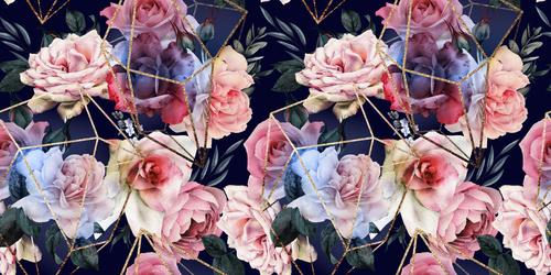 Fotomurale Flori pe fundal negru, modele geometrice aurii, trandafiri, tapet 3D