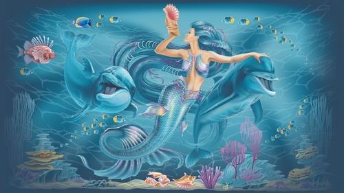 Fotomural sirenă, ocean, delfini, camera fetelor, apă