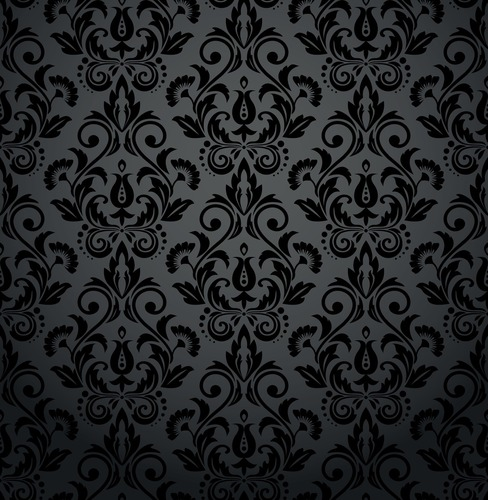 Mural pentru sufragerie - ornamente florale, baroc, nuanțe de gri și negru, glamour