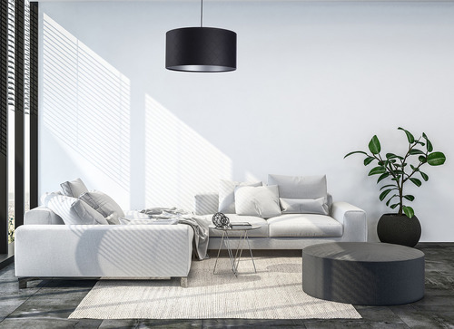 Lampa matlasată din piele cu role E27 60W negru argintiu