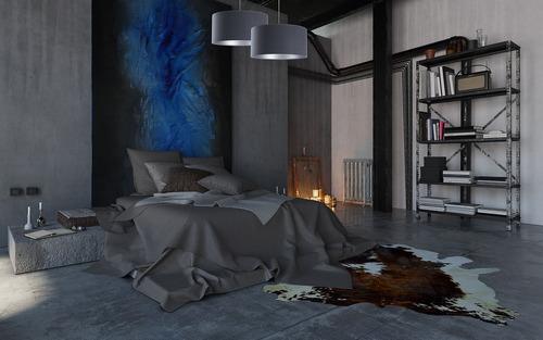 Lampă de plafon suspendată pentru sufragerie Piele albastru bleu marine / argintiu E27 60W
