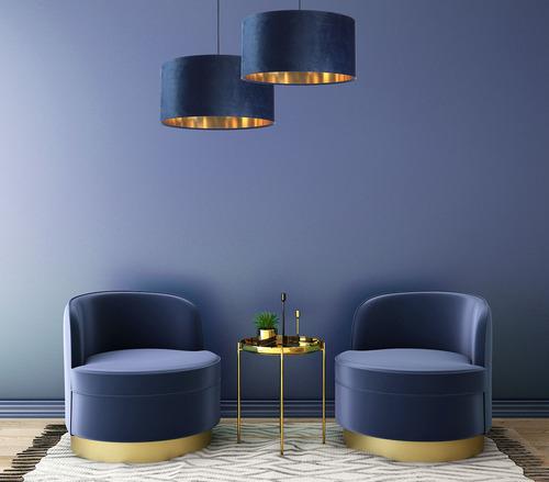 Piele - lampă suspendată albastru bleumarin, material textil din catifea, aur E27 60W