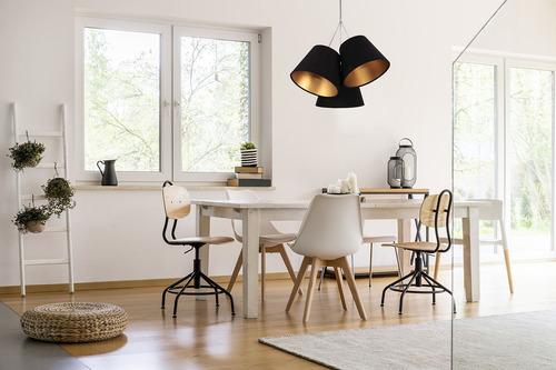 Lampa suspendată triplă pentru bucătărie BUCKET E27 60W negru / auriu