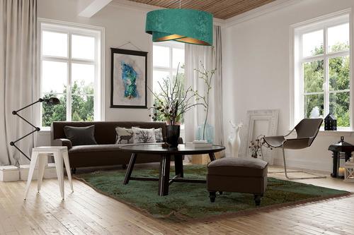 Lampa suspendată Modern Elegance 60W E27 asimetrică, velur, smarald / aur
