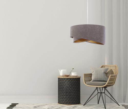 Lampă cu pandantiv gri Elegance 60W E27 velur din aur asimetric