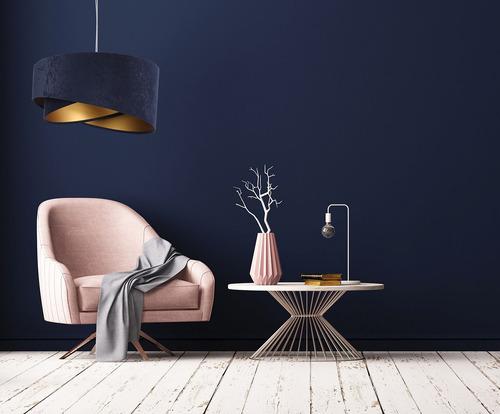 Lampă cu pandantiv rotund Elegance 60W E27 albastru bleu / auriu, bleumarin