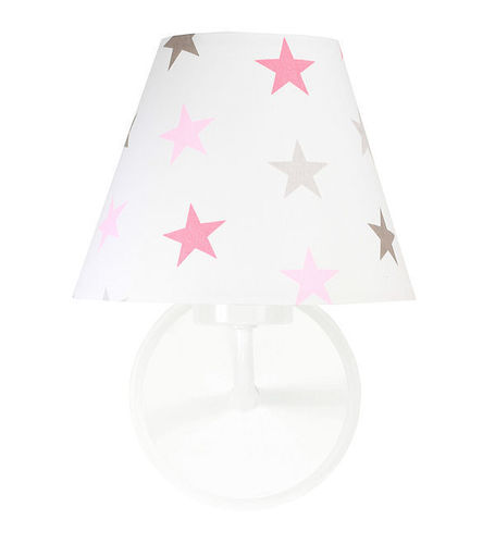 Lampa de perete pentru camera unei fete Raggio E27 60W stele gri și roz