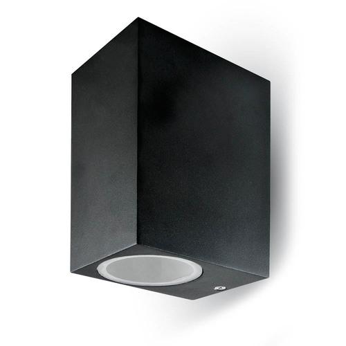 Lampă de perete de grădină V-TAC GU10 Aluminiu pătrat negru sus / jos IP44 VT-7652