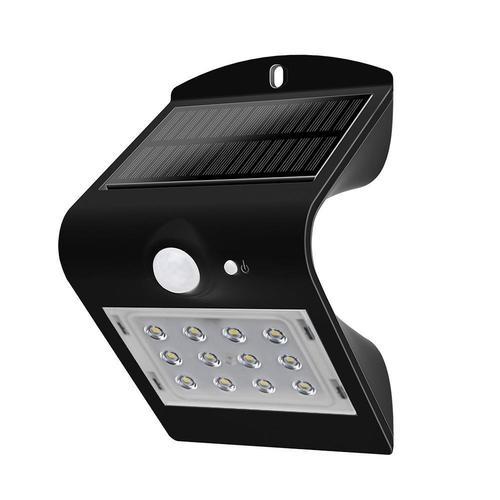 Lampă de perete solară 1,5W LED 4000K Negru 220lm