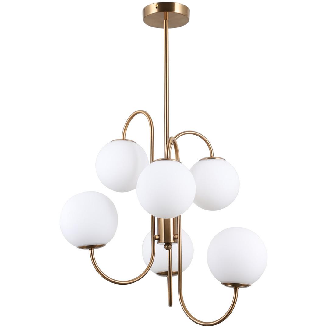 Lampă suspendată din alamă Gela G9, cu 6 becuri