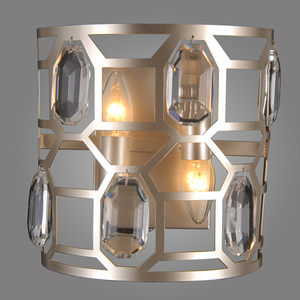 Lampă de perete modernă argintie Momento E14 cu 2 becuri small 1
