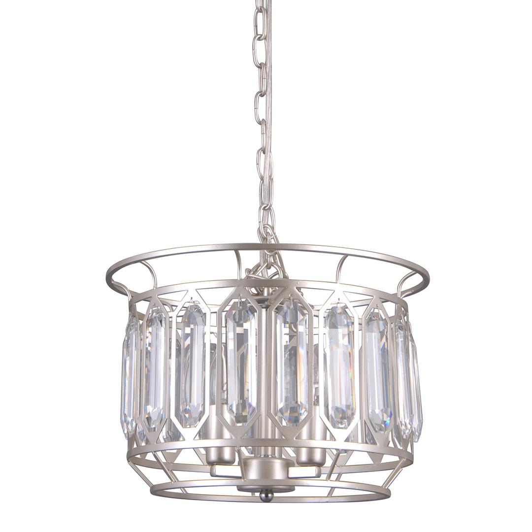 Lampă suspendată argintie Priscilla E14, cu 3 becuri