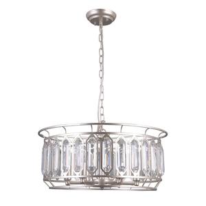 Lampă suspendată argintie Priscilla E14, cu 6 becuri small 1