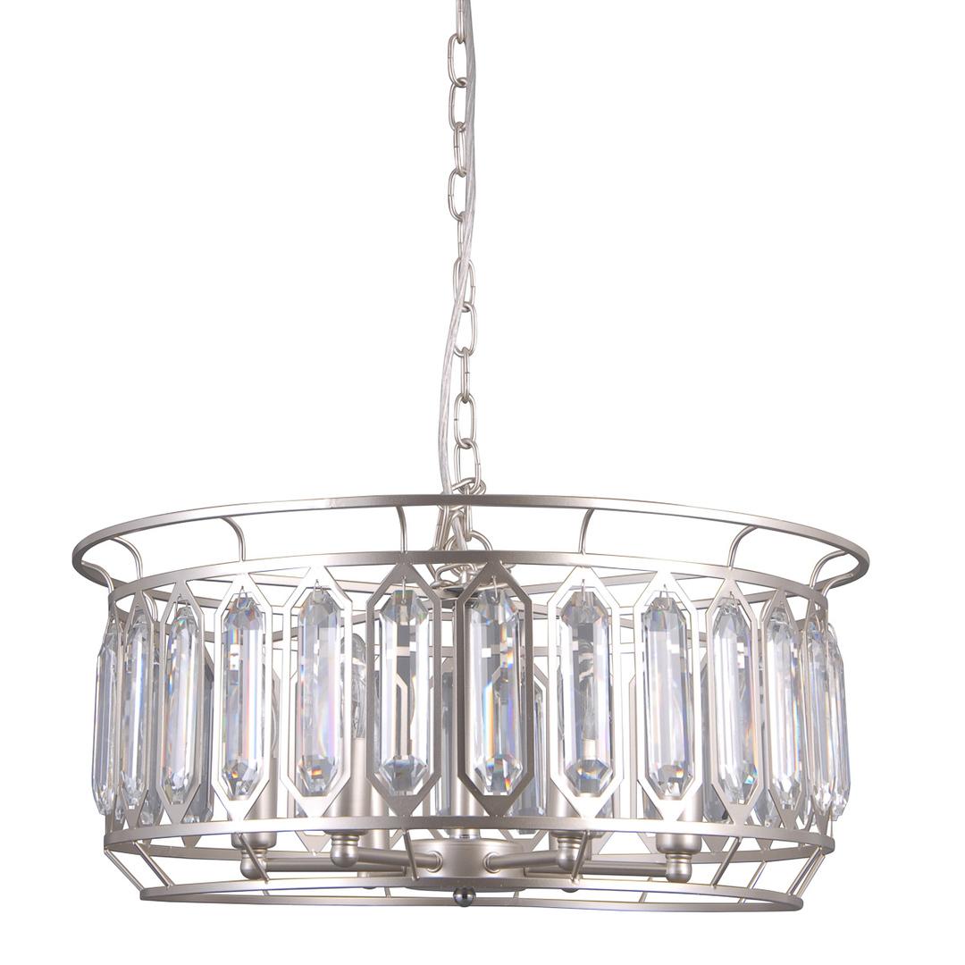 Lampă suspendată argintie Priscilla E14, cu 6 becuri