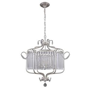 Lampă suspendată argintie cu cristale Rinaldo E14, cu 6 becuri small 1