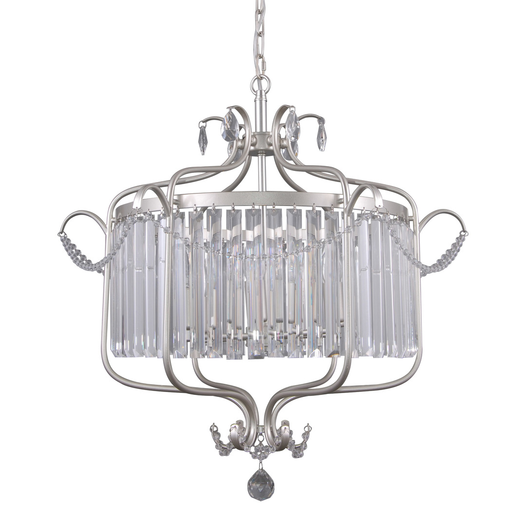 Lampă suspendată argintie cu cristale Rinaldo E14, cu 6 becuri