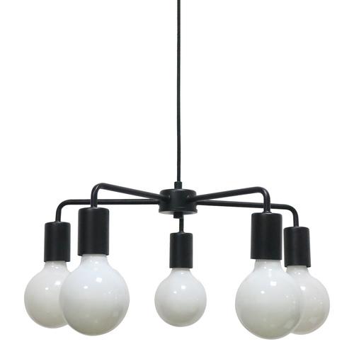 Lampă suspendată Irina E27 neagră, cu 5 becuri