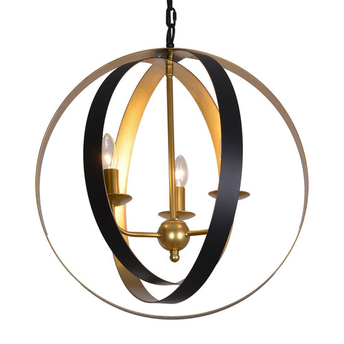Lampă suspendată neagră Kaia E14 cu 3 becuri