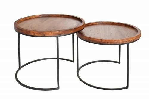 INVICTA un set de mese MAKASSAR - lemn masiv de salcâm, bază metalică