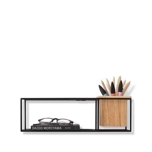 UMBRA raft CUBIST SMALL negru - metal, lemn