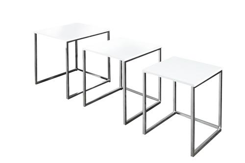 Set de masă TRIO SLIM alb - bază cromată