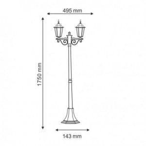 Lanterna de gradina in picioare Odessa 2 Alu + 2 becuri 175cm small 1