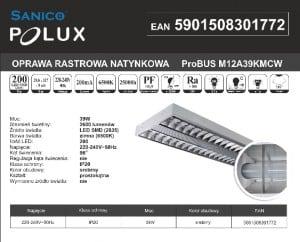 Rux LED montat la suprafață Polux ProBUS M12A39KMCW120x30 lustruit small 1