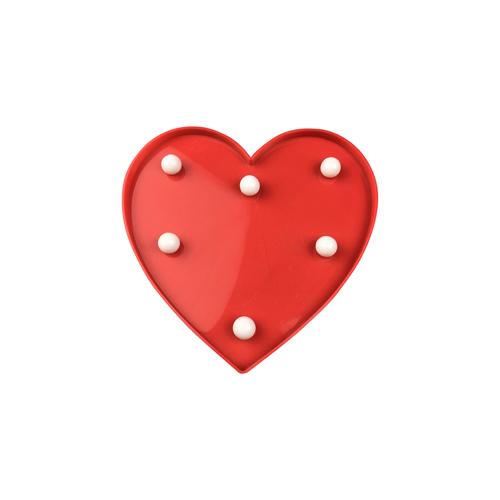 Inimă cu LED din plastic roșu
