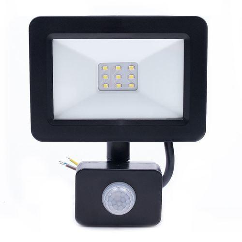 Proiector LED negru 10 W. Culoare: 6500 K. Pir IP65