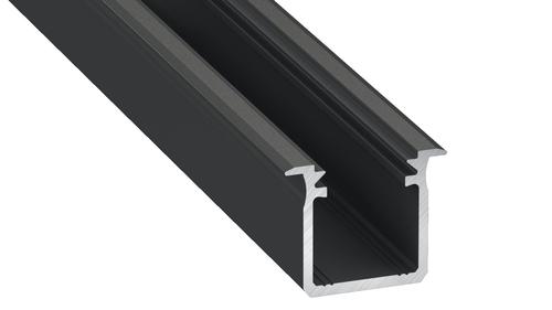 Tip G Profil din aluminiu negru 1m + Abajur de lapte
