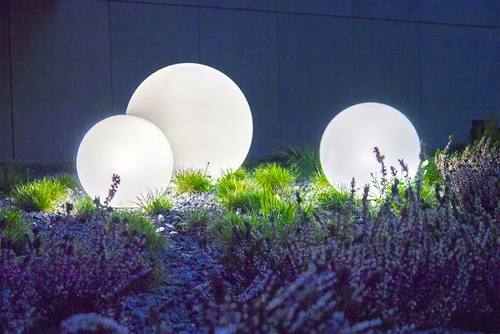 Set de trei lămpi exterioare, bile de grădină Ball Ball 30 cm, 40 cm, 50 cm, bile luminoase de grădină, clasice, albe